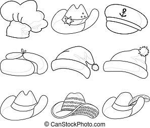 kapelusze, komplet, kontury