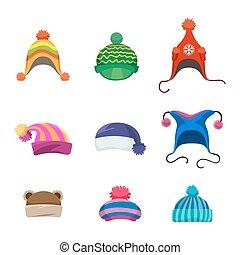 kapelusze, komplet, pompony, zima