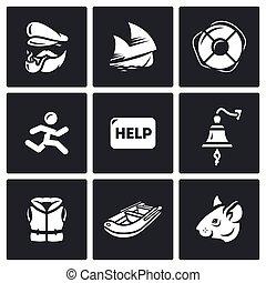 kapitány, kiszabadítás, állhatatos, lehangol, hajótörés, zakó, segítség, élet, icons., kiürítés, vektor, tocsin, szökés, rat., hajó