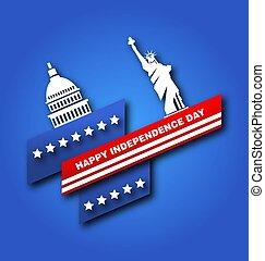 kapital, fjärde, usa, affisch, frihet, amerikan, staty, juli, dag, oberoende
