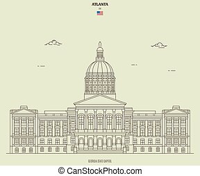 kapital, georgia, gränsmärke, tillstånd, ikon, usa., atlanta