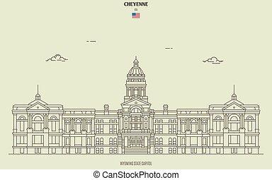 kapital, gränsmärke, cheyenne, wyoming, tillstånd, ikon, usa.