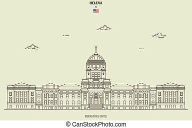 kapital, helena, gränsmärke, montana tillstånd, ikon, usa.