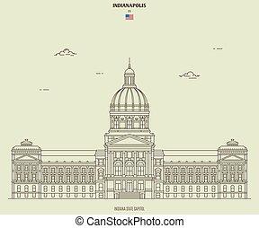 kapital, indianapolis, gränsmärke, indiana, tillstånd, ikon, usa.