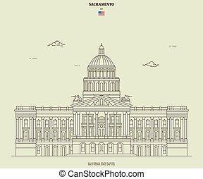 kapital, sacramento, kalifornien, gränsmärke, tillstånd, ikon, usa.