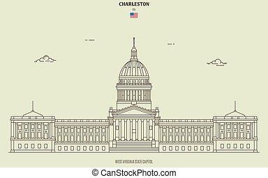 kapital, virginia, gränsmärke, charleston, väst, tillstånd, ikon, usa.