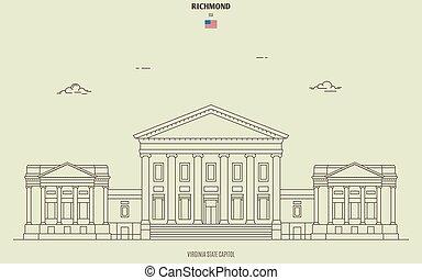 kapital, virginia, gränsmärke, tillstånd, ikon, usa., richmond
