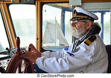 kapitan, nawigacja, cabine, bywały, stary