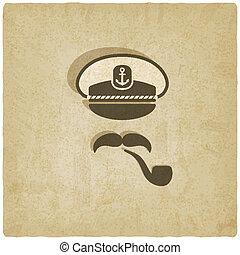 kapitan, wąsy, rura, stary, tło