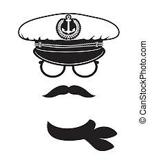 kapitein, pet, snor, sjaal