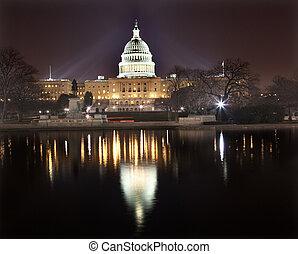 kapitol, waszyngton dc, na, noc, odbicie