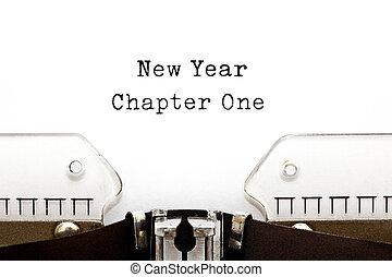 kapituła, nowy, maszyna do pisania, rok, jeden