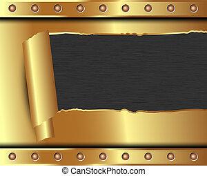 kapot, metaal, achtergrond, goud, metalen