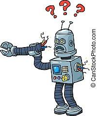 kapot, spotprent, robot