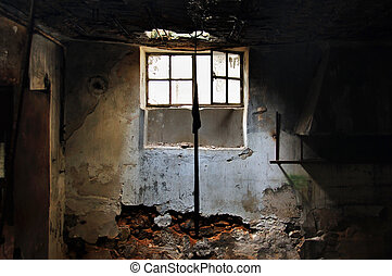 kapot, venster, door, zonlicht