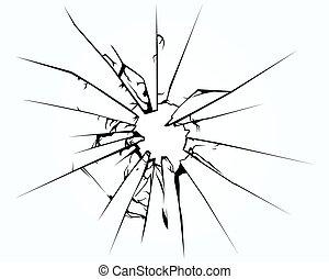 kapot, venster, of, ruit, glas