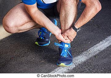 kapot, verdraaid, enkel, -, rennende , sportende, injury., mannelijke , loper, touchin