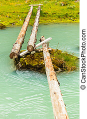 kapot, voetbrug, op, rivier, stroom