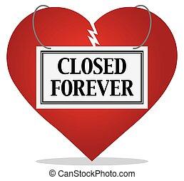 kapot, voor altijd, gesloten, hart