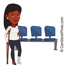 kapot, vrouw, crutches., been