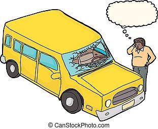 kapot, windscherm, omgooien, man
