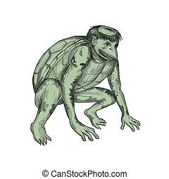 Kappa Monster Crouching Tattoo - Tattoo style illustration...