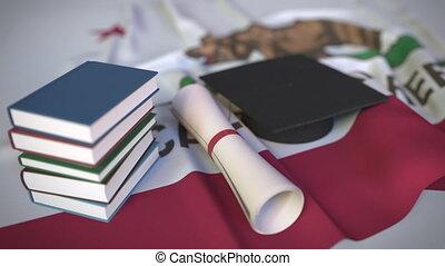 kappe, usa, buecher, bildung, diplom, höher, verwandt, 3d,...