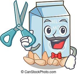 kapper, glas, amandel, karakter, melk