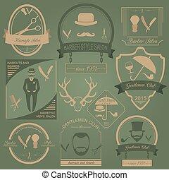 kapper, set, ouderwetse , logos