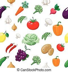 kappes, fleischtomaten, aubergine, zitrone, gemuese, pattern., rettiche, früchte, seamless