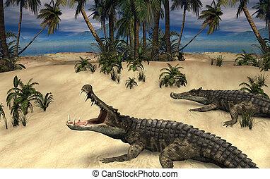 Kaprosuchus - Prehistoric Crocodiles - A prehistoric scene ...