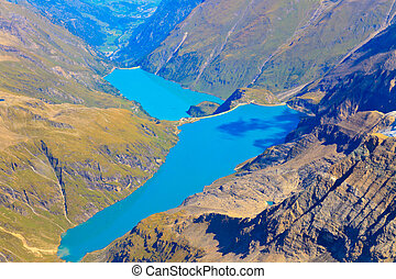 Kaprun reservoir lake aerial view, Austria