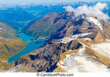 Kaprun reservoir lake aerial view, Austria