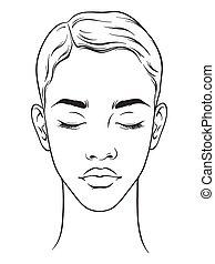 kapsel, amerikaan, kort, afrikaanse vrouw