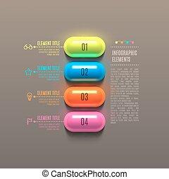 kapsel, concept., affär, infographics
