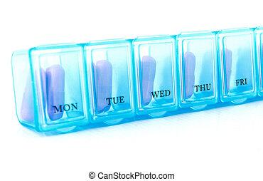 kapsel, in, blaues, alltaegliches, pille- kasten
