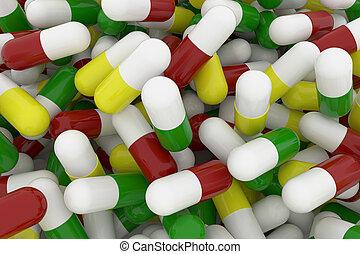 kapseln, pillen, bild, auf, bündel, übertragung, gesundheit, medizinprodukt, schließen, begrifflich, oder, 3d