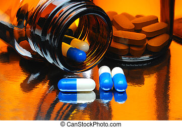 kapseln, und, medizin- flaschen