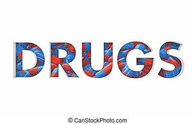 kapseln, verordnung betäubt, abbildung, medizinprodukt, wort, pillen, 3d