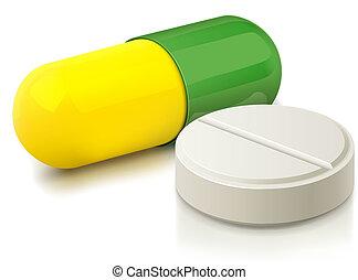 kapsle, a, pilulka