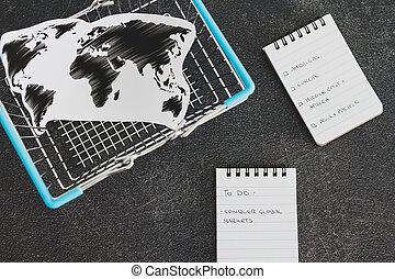 kapu, bevásárlás, globális, térkép, világ, meghódít, kosár, piac, lista, ügy