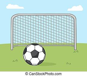 kapu, futball foci, labda