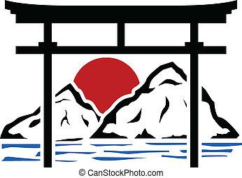 kapu, stencil, torii, sunrise.