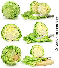 kapusta, warzywa, zielony, odizolowany, zbiór