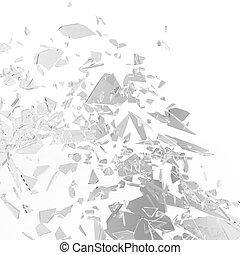 kaputte , fensterscheibe, oder, eingangstür, glas, hintergrund., glasscherben, hintergrund, freigestellt, auf, white., 3d, übertragung