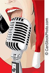 karácsony, énekes, (vector)