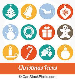 karácsony, és, tél, ikonok, vektor