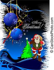 karácsony, -, újév, háttér, noha, szent, image., vektor