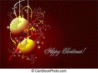 karácsony, -, újév, ragyog, kártya, noha, arany-, herék