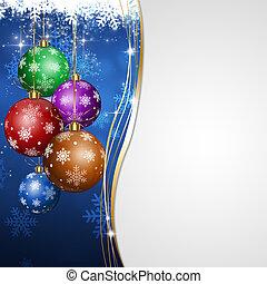 karácsony, ünnep, kék, köszönés kártya